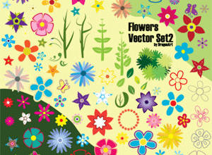 Free Vector Flower & Leaves
