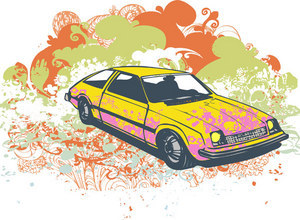 Retro Grunge Vector Car