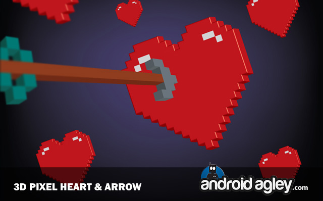 preview 3d Pixel Heart and Arrow