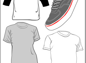 Free t-shirt and sneaker vectors